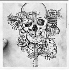 Ideas For Tattoo Music Skull Tat Music Tattoo Designs, Skull Tattoo Design, Music Tattoos, Skull Tattoos, Body Art Tattoos, Forearm Cover Up Tattoos, Back Tattoo, Tattoo Sketches, Tattoo Drawings