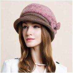 Pink flower bucket hat for women soft wool beret hats winter