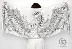 Silk dragon scarf - from mydragonspirit.com #silver #white