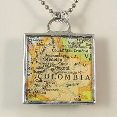 Colombia Vintage Map Pendant Necklace by XOHandworks $20