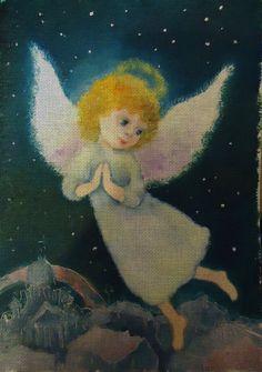Needlepoint canvas 'Praying Christmas Angel at Night' by Irina Kapustina