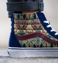 Printed Vans, blue and burgundy.