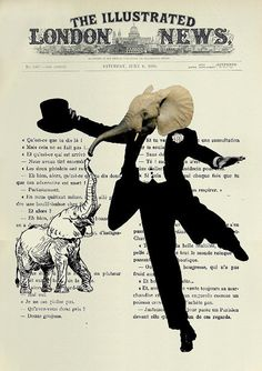 Giclee Print Poster Mixed Media Painting Illustration Drawing x DANCING ELEPHANT