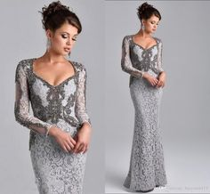 Mermaid Evening Dresses Wear 2016 Cheap V Neck Long Sleeves Silver Lace  Crystal Beaded Sweep Train Plus Size Party Dress Formal Prom Gowns Evening  Dresses ... 30c1afe4885d