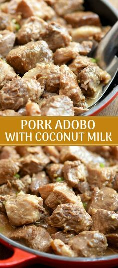Adobo sa Gata - Pork Adobo with Coconut milk is hearty, tasty and creamy, it's perfect with steamed rice. Cooking With Coconut Milk, Coconut Milk Recipes, Filipino Recipes, Mexican Food Recipes, Filipino Food, Mexican Pork Adobo Recipe, Pinoy Recipe, Dinner Recipes, Filipino Dishes