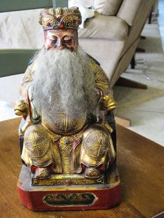 ANTIQUE CHINESE WOOD CARVING GOD WITH REAL HAIR BEARD JEWELED ROBE