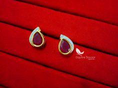 Daphne Maroon Zircon Studded Pendant Earrings for Women – Buy Indian Fashion Jewellery Gold Jhumka Earrings, Gold Earrings Designs, Pendant Earrings, Women's Earrings, Ear Jewelry, Gold Jewelry, Rakhi, Fashion Jewellery, Designer Earrings