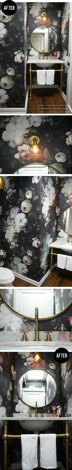 Wild thing for tiny toilet room --> oversize print wallpaper Black floral wallpaper in bathroom