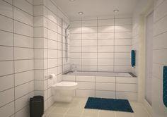 Badrum BV: Golvvärme, inkaklat badkar och tvättbänk med skjutdörrar. WC:n är vägghängd även här. Dimbara Led-spottar i taket. Badkaret kommer kläs i ett kakel i brunton. Väggarna klassiskt vita med stora kakelplattor. Här har vi arbetat med  kontraster mellan polerade och matta keramiska material.