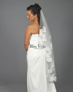 "Beautiful lace veil in a cascading design. Veil would be wonderful addition to your wedding attire! This is a 1 layer veil that comes in 10 different lengths from shoulder to cathedral (shown here in 45"" knee length). Not sure what length to order? No problem, just measure where the veil will be placed on the head to where you want it to end to find the measurement that works for you. Church Wedding Ceremony, Chapel Wedding, Wedding Veils, Lace Wedding, Wedding Dresses, Rustic Wedding, Wedding Favor Table, Creative Wedding Favors, Inexpensive Wedding Favors"