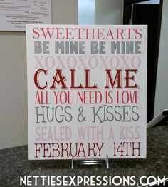 Valentine Subway Art 12x14 Wood Sign | Netties Expressions