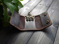 Genuine Leather Key Case Wallet Mens Leather Key by CityOfGod