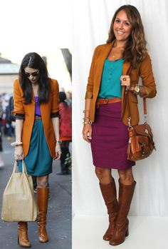 camel/cognac brown, turquoise/peacock blue, fuchsia/magenta/purple, brown riding boots