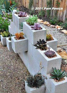 "love this block ""wall"" succulent planter"