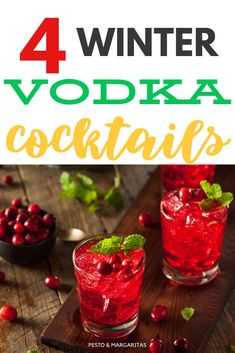 4 Winter Vodka Cocktails - Vodka is a popular winter type of alcohol and makes quite a few of the famous winter cocktails with - Triple Sec Cocktails, Bourbon Cocktails, Vodka Cocktails, Classic Cocktails, Cocktail Recipes, Alcoholic Drinks, Drink Recipes, Winter Cocktails, Cocktails To Make At Home