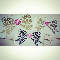 Need this!!   https://www.etsy.com/listing/197847597/leopard-bow-monogrammed-decal