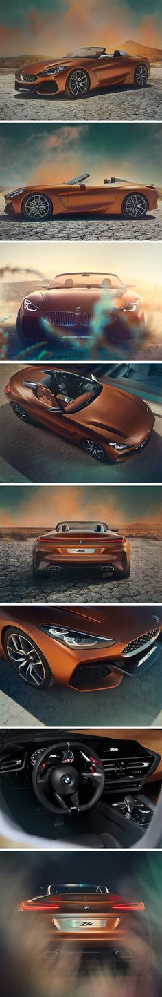 The Z4 Roadster concept, launched only yesterday at BMW's annual Monterey Car Week, features a sharper and more dynamic aesthetic, with practically perfect bilateral symmetry on the outside from front to back. The car's design explores a relatively slimmer dual kidney grill on the front, but makes up for it with massive air intakes on the lower bumper.