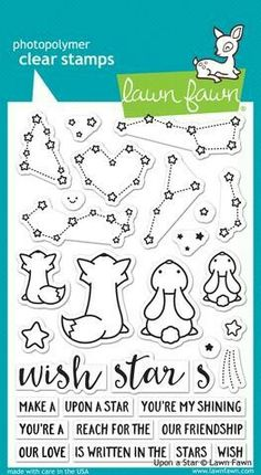 Tampons transparents 'Lawn Fawn' Upon A Star - La Fourmi creative Tarjetas Diy, Message Of Encouragement, Tampons Transparents, Lawn Fawn Stamps, Our Friendship, Ink Pads, Digital Stamps, Clear Stamps, Constellations