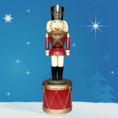 Giant Nutcracker on Display Drum 8.5' H $999.00 Huge Nutcracker on display drum...larger than life! Over 8.5 ft. high. What a splash he will make in front of your business or home... $999.00