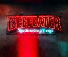 """LED Neon """"Beefeater"""" custom sign Custom Neon Signs, Led Neon Signs, London Dry Gin, Home Signs, Wedding Signs, Etsy Seller, Wedding Plaques, Wedding Tags, Wedding Signage"""