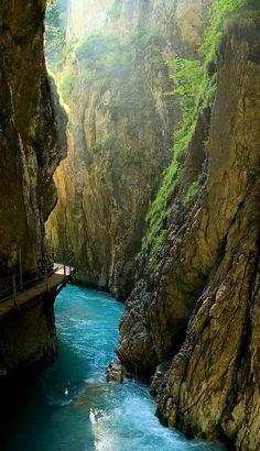 Beautiful Leutaschklamm Gorge in Mittenwald, Bavaria, Germany