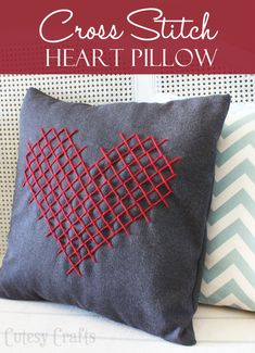 Cutesy Crafts: DIY Cross Stitch Heart Pillow for Valentine's Day Cross Stitching, Cross Stitch Embroidery, Sewing Crafts, Sewing Projects, Diy Projects, Heart Pillow, Heart Cushion, Cross Stitch Heart, Valentine's Day Diy