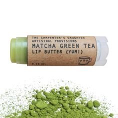 Organic matcha green tea is rich in antioxidants and gives this lip balm its warm green earthy glow. This will not add color to your lips. The lip balm base for all of my lip butters is mixed and hand