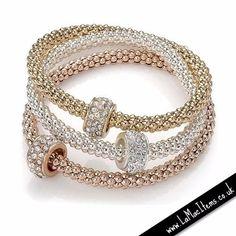 Tri-Colour Crystal Bracelet Set