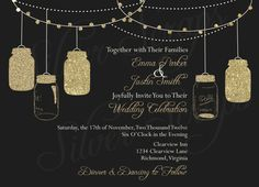 Gold Glitter Lights and Vintage Hanging Mason Jars - Custom Wedding, Rehearsal, Shower, Engagement Party Invitation - Pink Black - 5 Designs on Etsy, $19.15