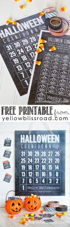 Free Printable Chalkboard Halloween Countdown. Another free printable from Yellow Bliss Road! So cute - my kids will LOVE this!