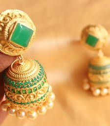 Buy BEAUTIFUL MATTE FINISH ROYAL CUT EMERALD HUGE JHUMKAS jhumka online
