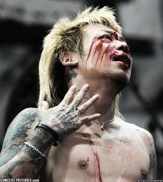 Kyo of Dir en Grey. Blood Emphasis on Face