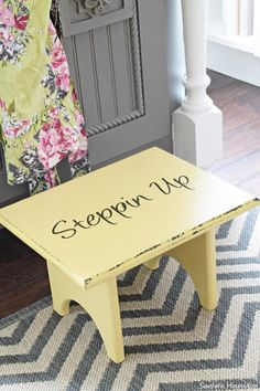 Yardsale stool chalk paint makeover.