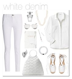 """""""#whitejeans"""" by hellodollface ❤ liked on Polyvore featuring rag & bone, Lacoste, Michael Kors, Avon, Victoria Beckham, Lokai, Boucheron and whitejeans"""