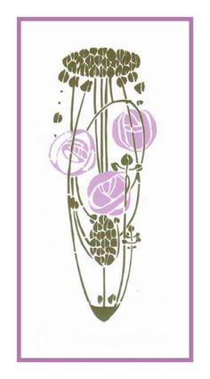 ART Nouveau Charles Rennie Mackintosh Lavender Rose Counted Cross Stitch Chart | eBay