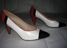 Vintage White Red Black Color Block Pumps by ExpertImageVintage, $25.00