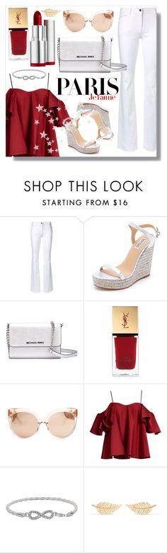 """A Day in Paris"" by jojobellestyle ❤ liked on Polyvore featuring Badgley Mischka, MICHAEL Michael Kors, Yves Saint Laurent, Linda Farrow, Anna October, H&M, Jennifer Meyer Jewelry, Clarins, paris and romantic"