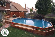 This on ground pool deck is made with sandlewood Tex Plus EZ Deck flooring. The onground pool is trimmed in cedar and skirted in 1 X 6 cedar boards. This deck is located in Oakville. Above Ground Pool Landscaping, Backyard Pool Landscaping, Backyard Pool Designs, Small Backyard Patio, Deck Ideas For Above Ground Pools, Landscaping Ideas, Landscaping Supplies, Oberirdischer Pool, Swimming Pools Backyard