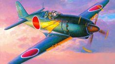 истребитель-перехватчик, самолёт, небо, арт, японский