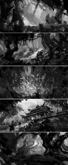 060 by wanbao on DeviantArt Landscape Drawings, Abstract Landscape, Monochromatic Art, White Gouache, Value In Art, Illustration Story, Background Drawing, Landscape Concept, Keys Art