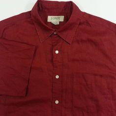 J.Crew Medium Mens Shirt 100% Linen Red Camp #JCrew #ButtonFront