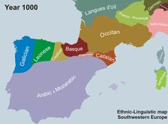 Linguistics Map of the Iberian Peninsula. Map showing the historical retreat and expansion of Portuguese within the context of its linguistic neighbours between the year 1000 and Catalan Language, Portuguese Language, Spanish Language, Portuguese Empire, Arabic Language, Learn Brazilian Portuguese, Portuguese Lessons, Ap Spanish, Historical Maps