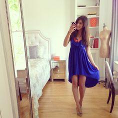 blue dress and statement necklace, summer dress
