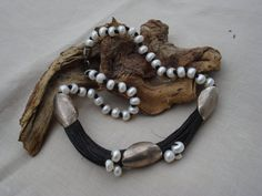 ECOFRIENDLY HANDCRAFTED NECKLACE with Sterling Silver 925,Natural Linen Cord and Fresh Water Pearls.Exquisite Collection.