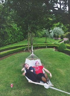 Tyler and Josh chillin' on a hammock in France