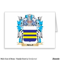 Melo Coat of Arms - Family Crest Stationery Note Card