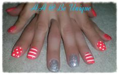 Nails done by Angelique Allegria. #coral #stripes #Silver #glitter #BeUnique @angiedsa