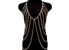 Gold Vest-like Body Chain with V-Neck.
