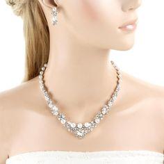 Ever Faith österreichische Kristall elegant Halskette Ohrring Schmuck Set Silber-Ton N00476-2: Amazon.de: Schmuck