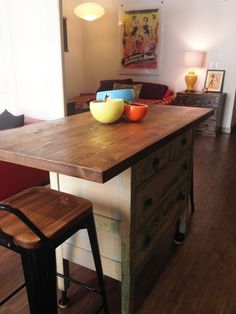 Before & After: A Small 570 Square Foot Studio Gets Stylish - A dresser on castors and a wood top with overhang for seating = portable kitchen island and storage - Diy Kitchen Island Extension, Portable Kitchen Island, Kitchen Island Storage, Kitchen Island Table, Kitchen Island With Seating, Kitchen Corner, New Kitchen, Kitchen Decor, Kitchen Small
